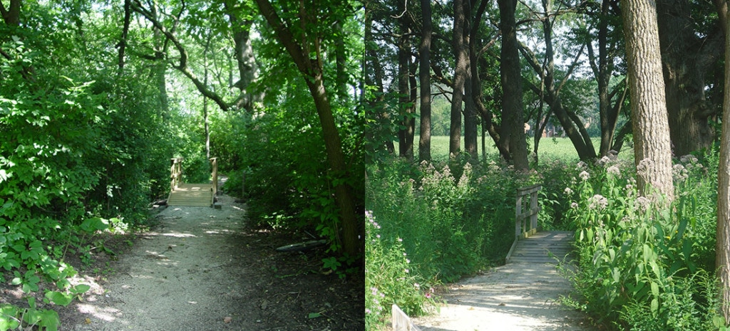Nature park entrance before(l) and after(r) restoration